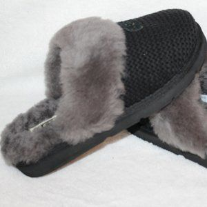 UGG COZY KNIT SWEATER SHEARLING SLIPPERS BLACK